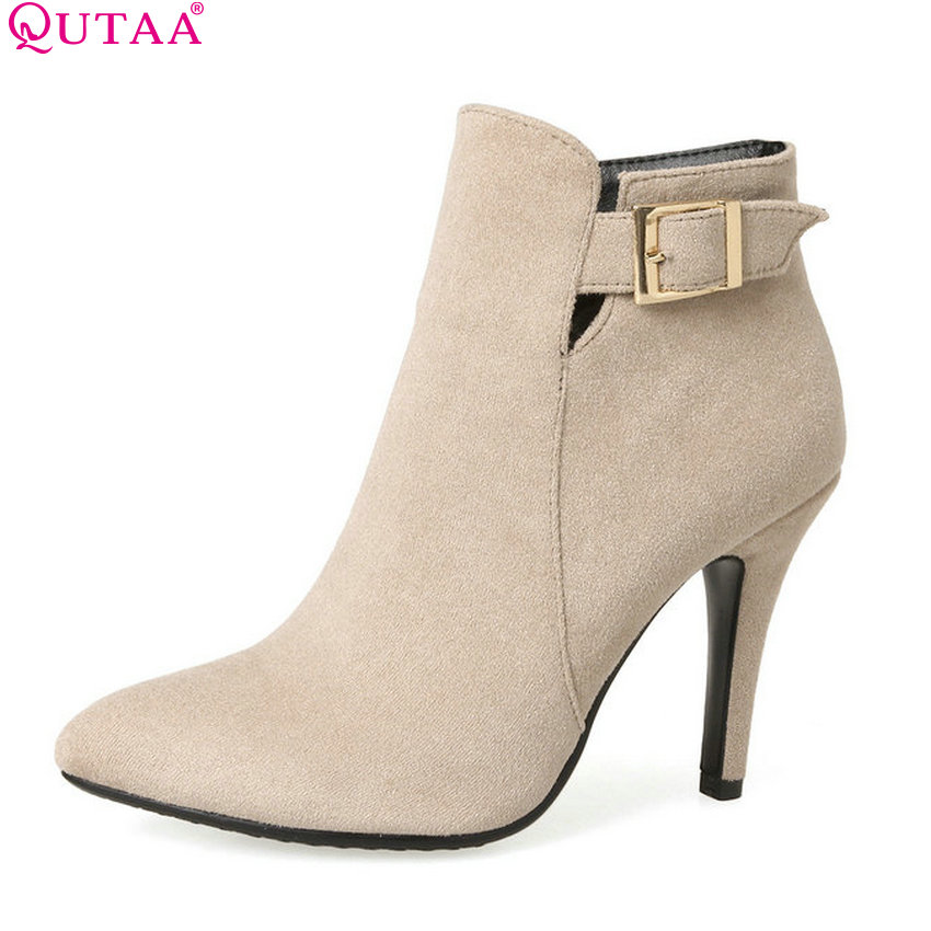 QUTAA 2018 Women Ankle Boots Zipper All Match Pointed Toe Thin High Heel Spring And Autumn Shoes ladies Women Boots Size 34-43 arrylinfashion british fashion all match ankle boots top leather autumn botas femininas pointed toe charming thin high heels