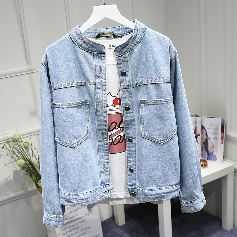 Harajuku Denim Jacket Female 2020 Spring Fall New Loose Solid O-neck Jeans Jackets Outwear Womens Leisure Cowboy Coats Femininos