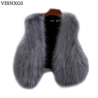 Designer Faux Fox Fur Vest Sleeveless Furry Waistcoat Gilet Fourrure For Femme Winter Autumn Faux Women Vests Short Jackets S223