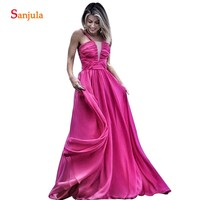 Fuchsia Chiffon Bridesmaid Dresses Pleated Bodice A line Straps Party Gowns Beach Wedding Guest Dress Long BY95