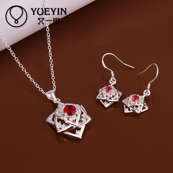 New Style Fashion Jewellery Set 925 Stering Silver Red Zircon Necklace Earring