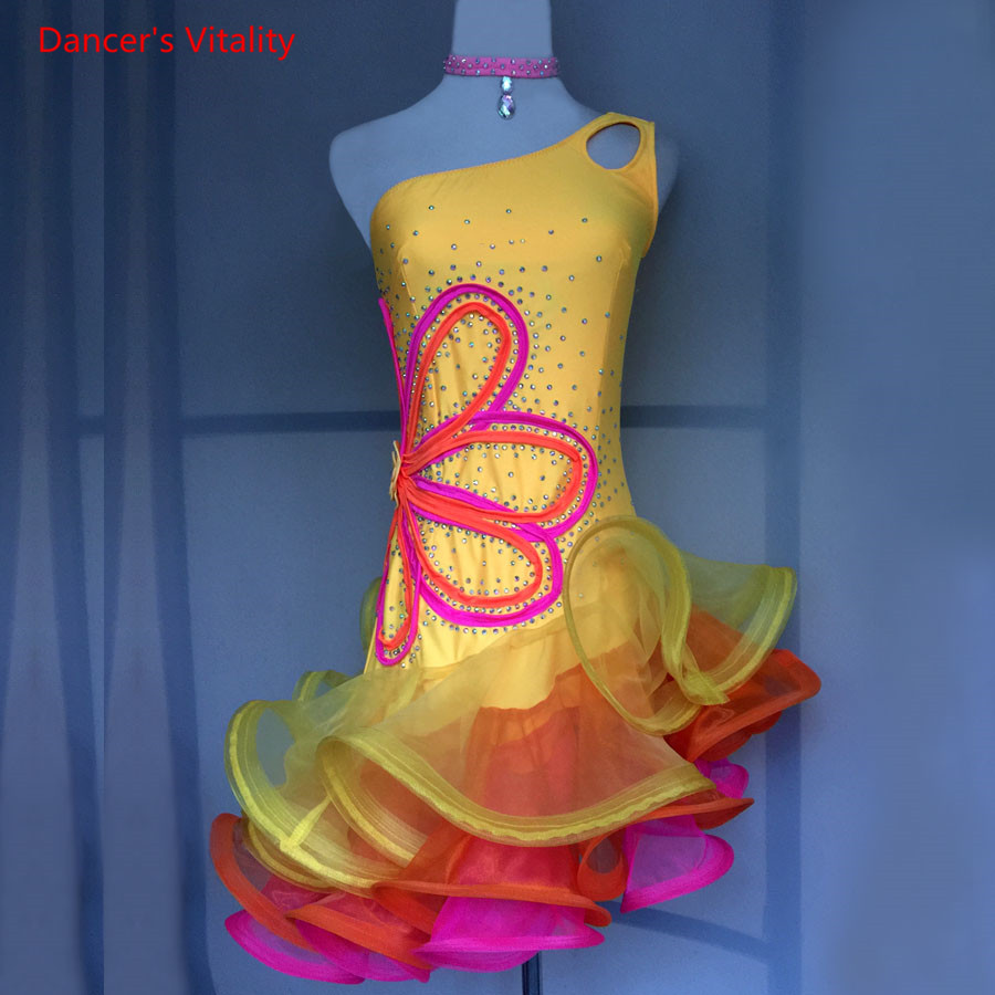 Custom Childrens' Latin Dance Competitiom Dress Women Latin Dance Ballroom Dance Clothing Girls Dance Performance Costumes