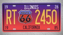 1 pc Route 66 California Illinois Car license Tin Plates Signs Brussel wall man cave Decoration Metal Art Vintage Poster