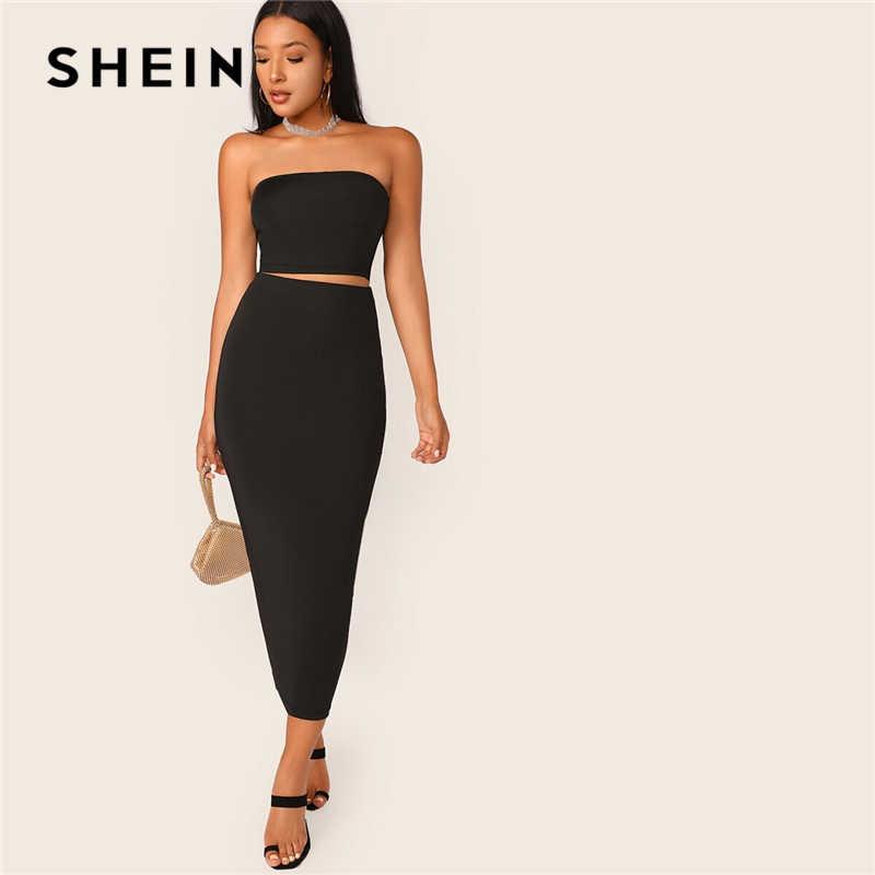 SHEIN czarny stałe rury Crop Top i długie spódnica ołówkowa zestaw Slim Fit 2 sztuka zestaw kobiety lato rozciągliwy Boho Skinny dwuczęściowy zestaw