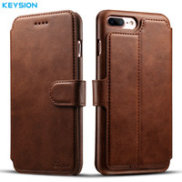 KEYSION Vintage Case For IPhone 7 7 Plus PU Leather Wallet Card Slots Flip Case Kickstand