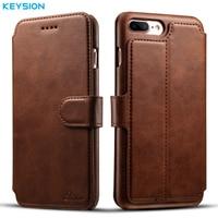 KEYSION Vintage Case For IPhone 7 7 Plus PU Leather Wallet Card Slots Flip Case Kickstand