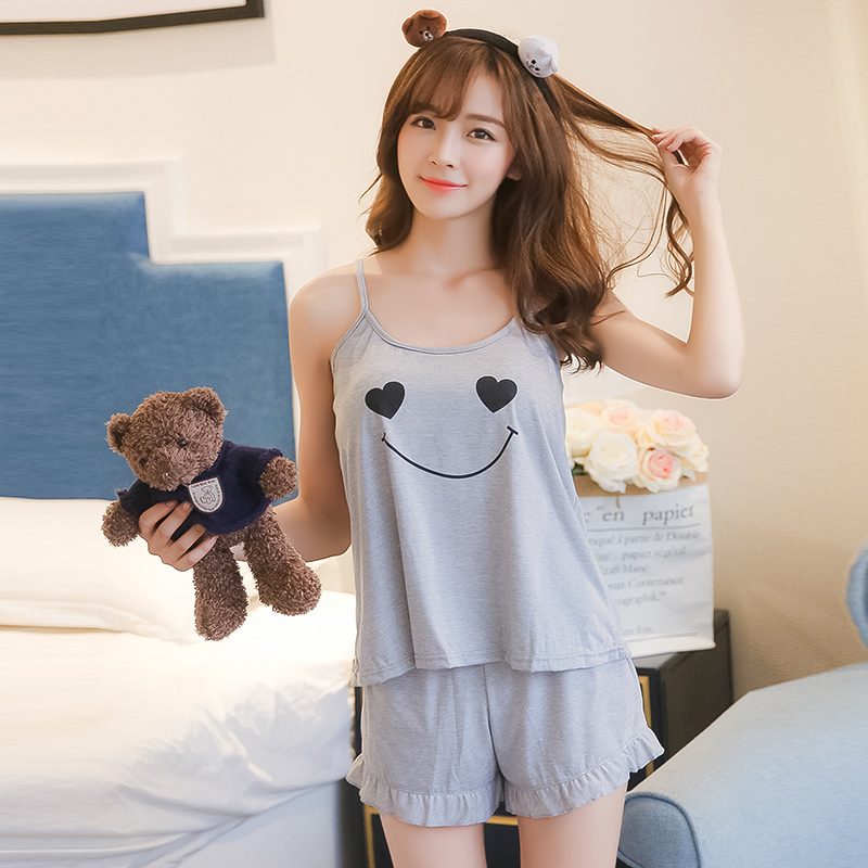 Women   pajamas     set   Summer ladies lovely knit cotton sleepwear girl Camisole two-piece pyjamas woman's sling home wear suit