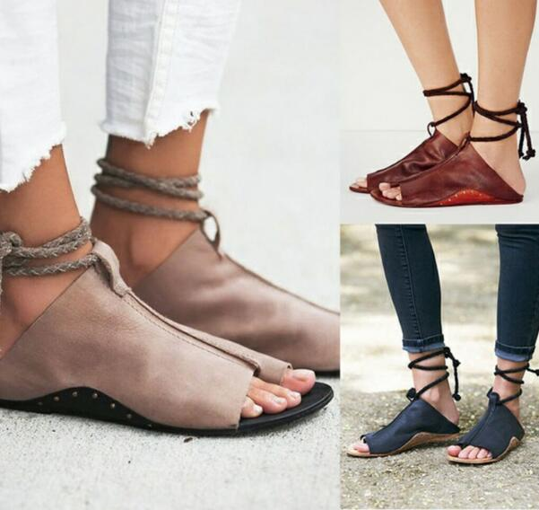 где купить 2018 Women Sandals zapatos mujer summer sandals women flats ladies shoes woman ankle strap wedding chaussure femme lace up по лучшей цене
