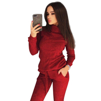 MVGIRLRU stylish knit suit womens two piece sets high neck mid line sweater+pant tracksuit female outfits