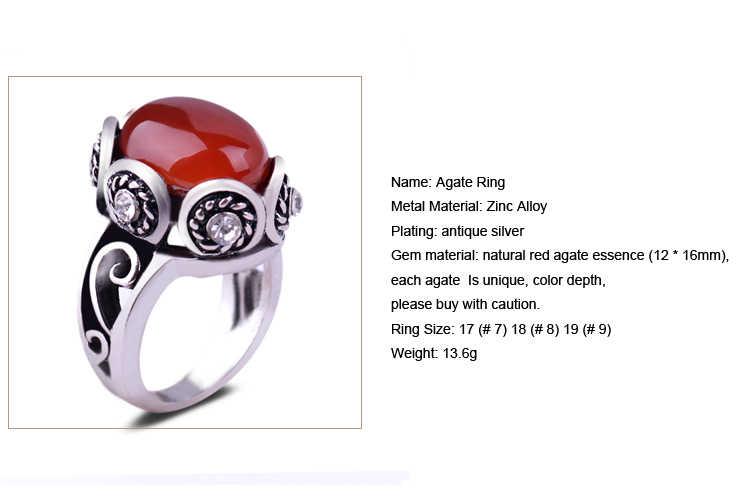 ธรรมชาติสีแดงอาเกตโบราณเงินแหวนผู้ชายพลอยการตั้งค่าออกแบบดอกไม้คริสตัลเครื่องประดับสตรี Vintage แหวน