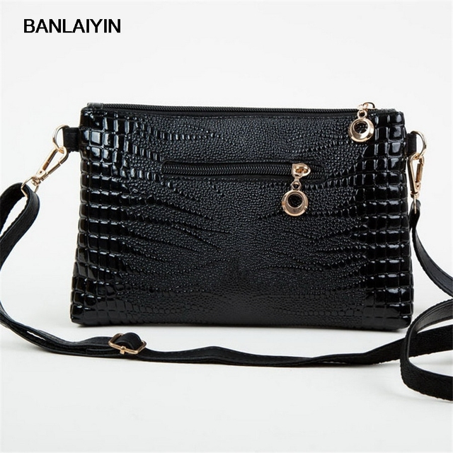Korean Women Fashion Vintage Alligator Leather Satchel Shoulder Bag Lady  Simple Sling Crossbody Handbag Zipper Purse 22d6bbd9e1