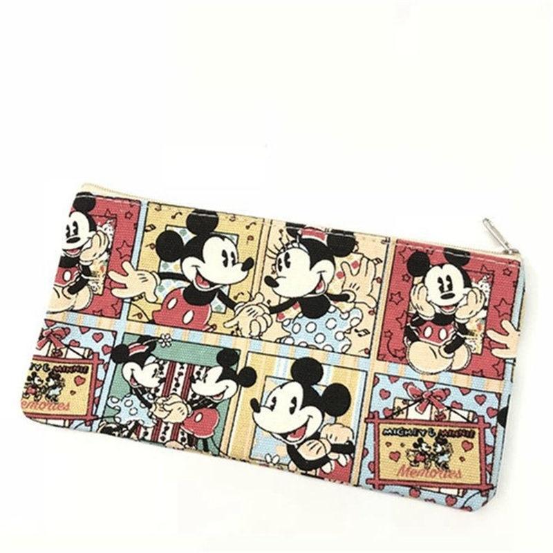 Disney New Cute Cartoon Mickey Stitch Pattern Purse Casual Student Pencil  Girl Canvas Sundries Storage Bag Women Cosmetic Bag