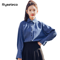 Ryseleco 2018 New Spring Fashion Lovely Bow Tie Solid Women Denim Shirts Turn Down Collar Streetwear