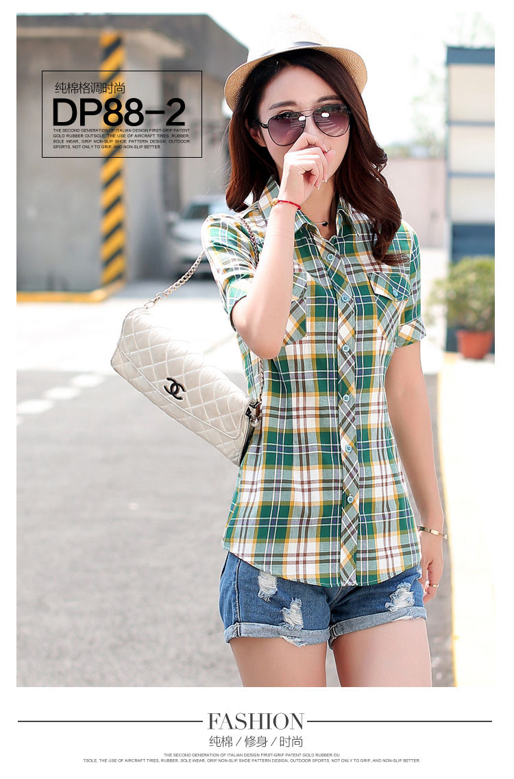 HTB1F4LPHFXXXXbJXXXXq6xXFXXXo - New 2017 Summer Style Plaid Print Short Sleeve Shirts Women