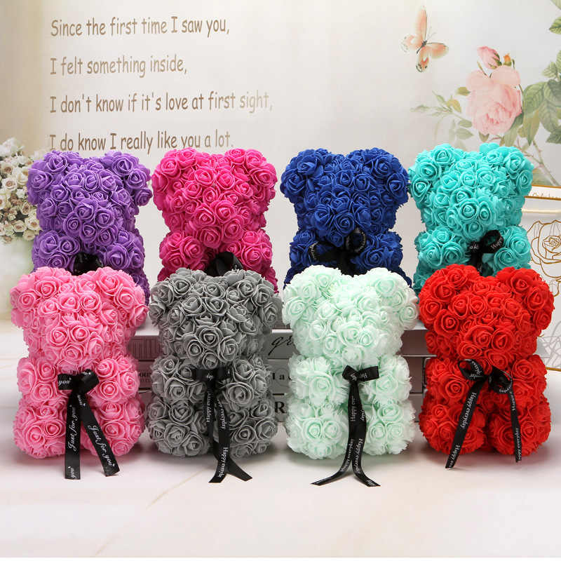 Foam Roses 500pcs 3.5cm Artificial Foam Flower Heads DIY 20cm Teddy Bear Mold PE Rose Bear Accessories Decor Valentine's Gift