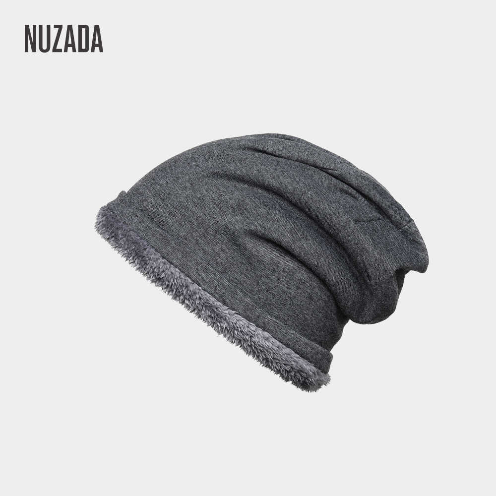 3501f3463 NUZADA Plus Velvet Thickening Lady Men Women Winter Hat Internal Plush  Skullies Beanies Cap Knitted Caps Bonnet Keep Warm