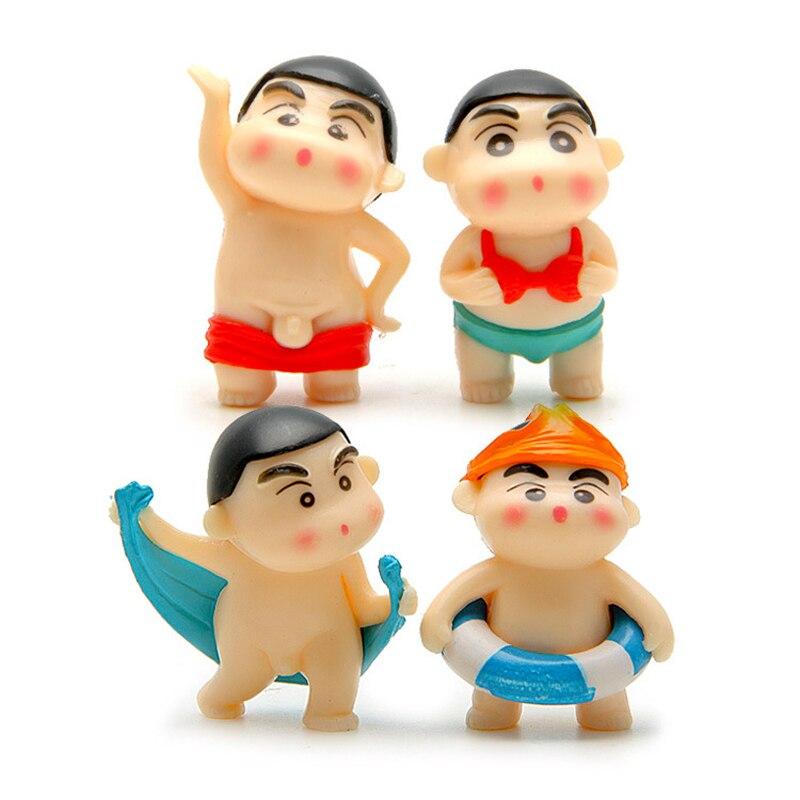 4 unids/lote Cute Anime Crayon Shin-chan Bañarse Estilo Mini Figura de Acción de