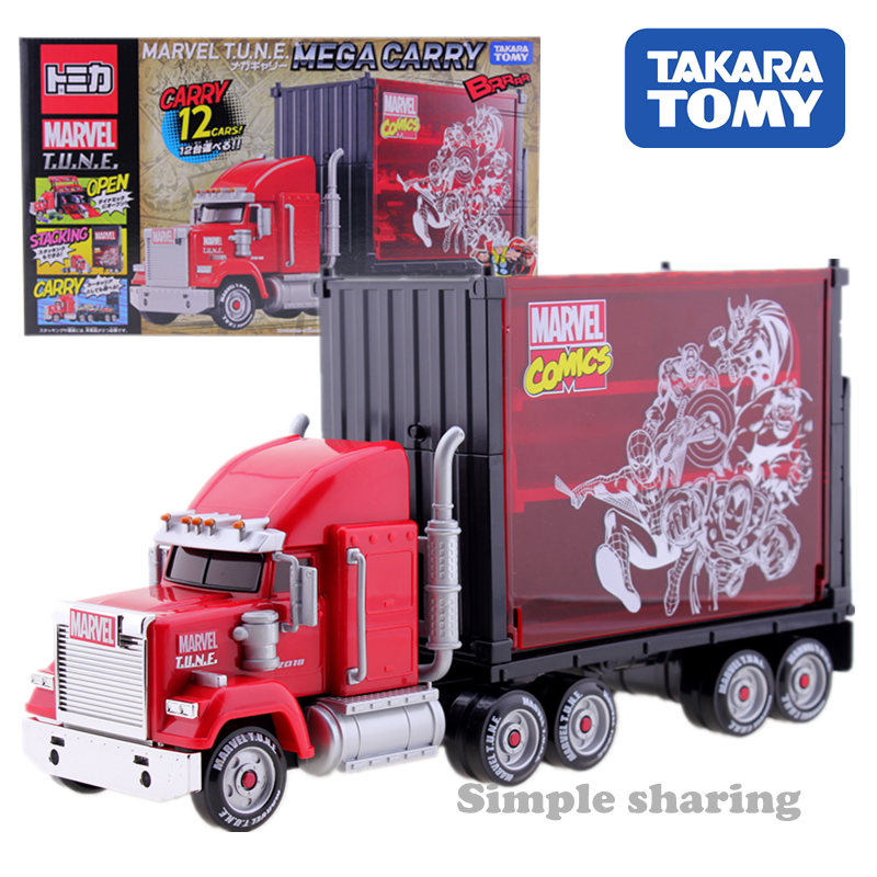 Takara Tomy Disney Motors Marvel Comic TUNE Mega Carry Diecast Car Truck Carrier