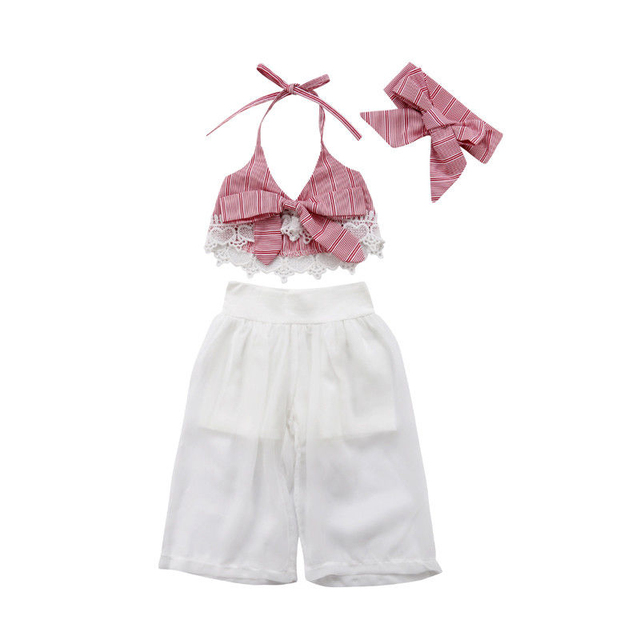 US $5 51 32% OFF|Hot Stylish Baby Girl Clothes Set 3PCS 6M 5T Summer  Sleeveless Lace Bow Halterneck Crop Top Gauze Loose Pants Panties Outfit-in