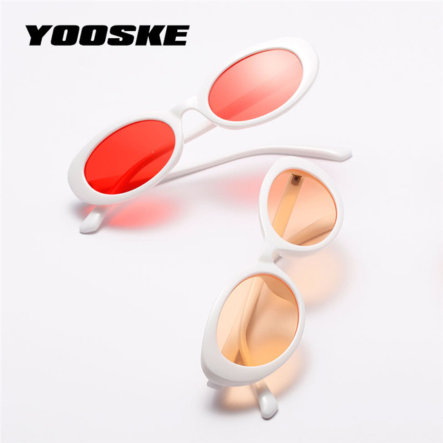 YOOSKE 2018 Cat Eye Sunglasses Women Vintage Small Oval Sun Glasses Ladies Retro Black White Red Small Size Cateyes Sunglass