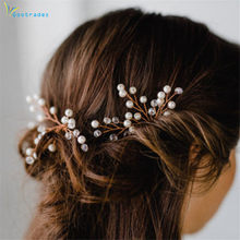 Shiny Wedding Hairpins Gold Metal Crystal Pearl Bride Hair Sticks Queen Jewelry Ornaments Romantic Prince Headdress Hair Fork(China)