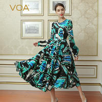 VOA 2018 Spring Summer New Fashion Lantern Sleeve High Waist Lacing African Print Dress Plus Size Women Silk Slim Dress ALX16802