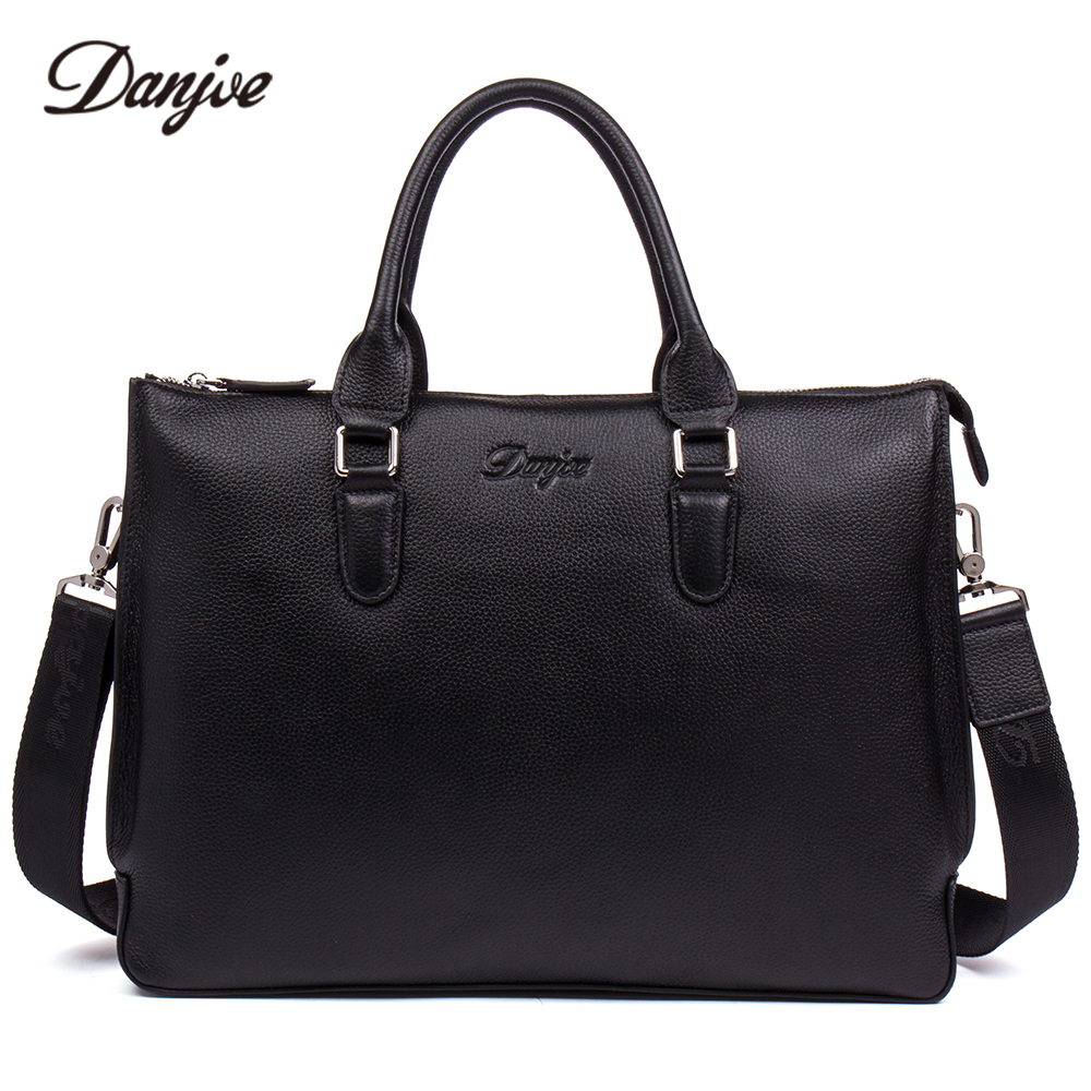 DANJUE Men Briefcase Genuine Leather Handbag Male Business Shoulder Bag High Quality Brand Computer Laptop Bag Totes Man new high quality male leather men laptop briefcase bag 14 inch computer bags handbag business bag single shoulder business bags