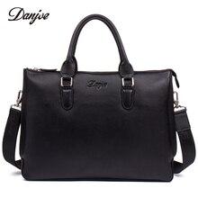 DANJUE Men Briefcase Genuine Leather Handbag Male Business Shoulder Bag High Quality Brand Computer Laptop Bag Totes Man