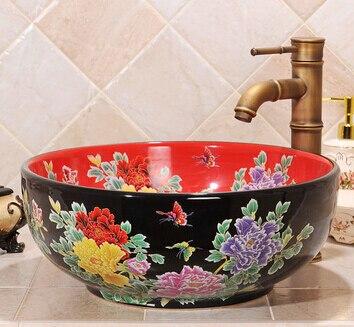 Style méditerranéen Jingdezhen céramique salle de bains lavabo vasque d'art de bassin chaud-vente