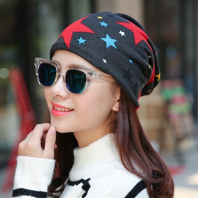 (cc. Amily) Neue Frauen Ladies Beach Casual Schal Mütze Koreanische Stil Fahrrad Sterne Muster Druck Bunte Multifunktions Hut Fs0397 Farben Sind AuffäLlig