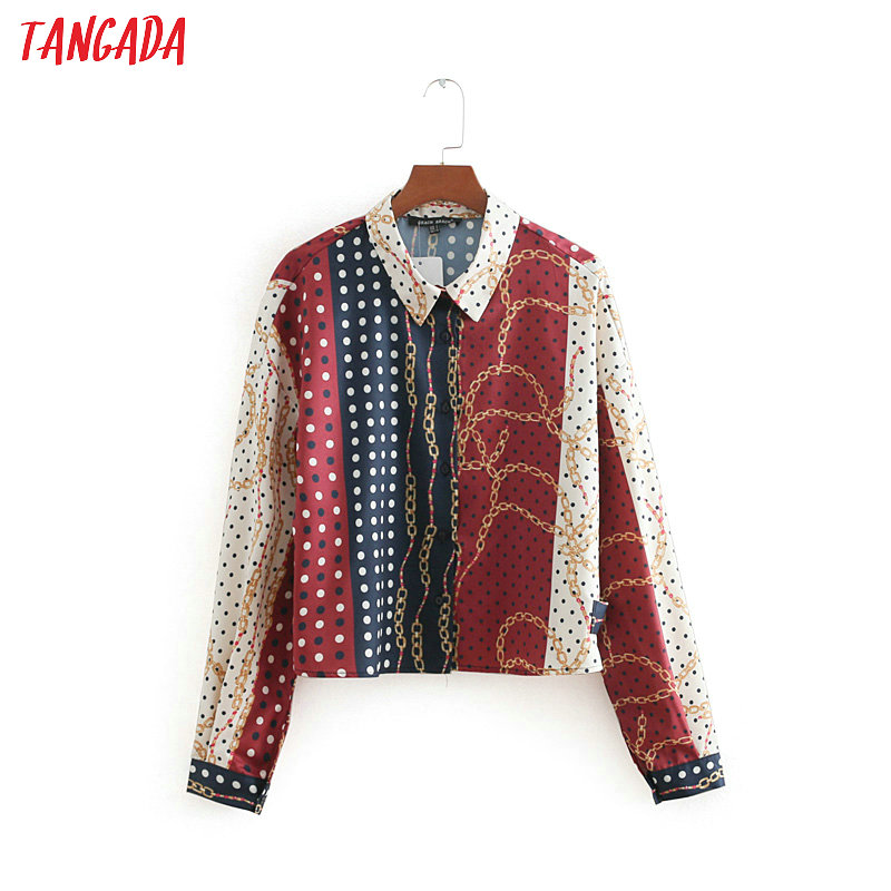 Tangada women chain print vintage blouses crop oversized long sleeve new arrival lady shirts female loose tops blusas CC258