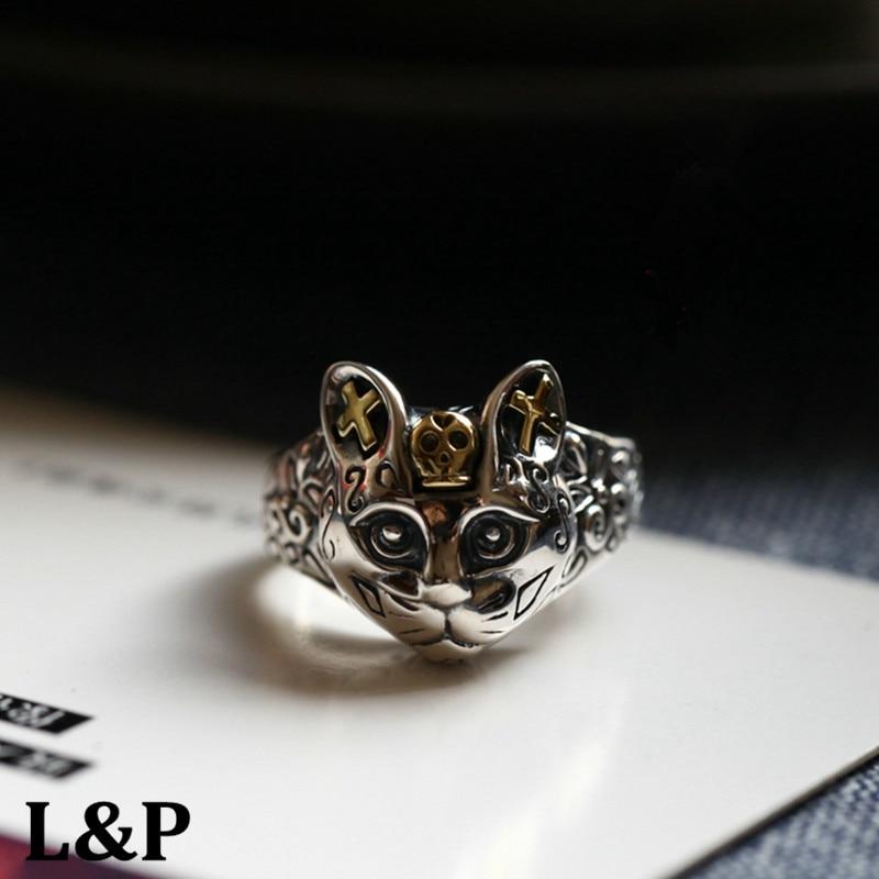 Chiang Mai, thaïlande Thai bague en argent bijoux en argent 925 Sterling argent croix chat anneau pour femmes et hommes, Punk mode bague en argent