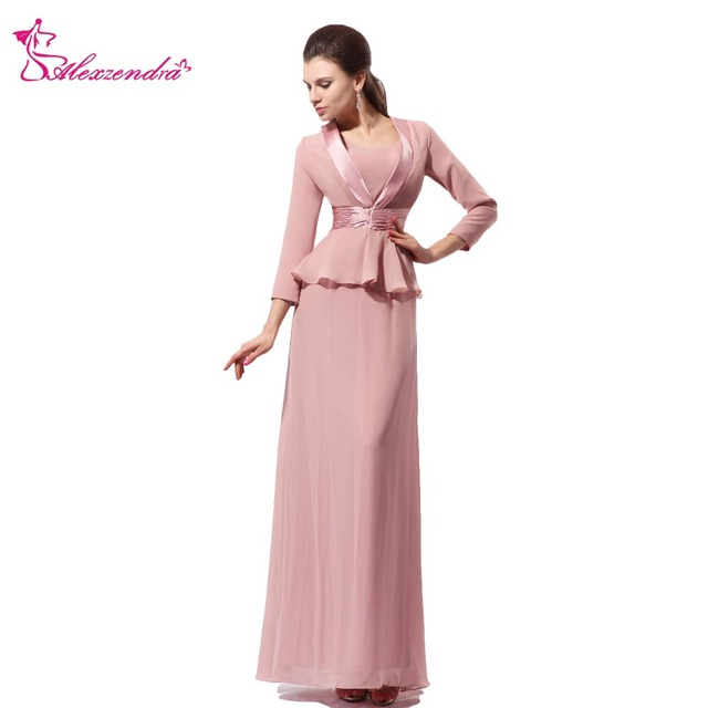 Alexzendra Chiffon Long Mermaid Mother Of Bride Dress With Jacket