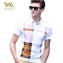 Polos Para Hombre Men Polo Shirts High Quality Fashion Summer Male Short Sleeve Shirt Printed Lattice Homme Camisa Tops