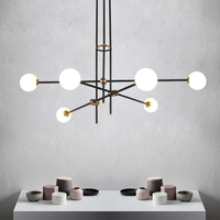 Guest room study glass ball molecules pendant lamp post modern simple American magic beans long pipe pendant light