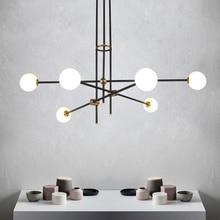 Guest room study glass ball molecules pendant lamp post-modern simple American magic beans long pipe pendant light цена 2017