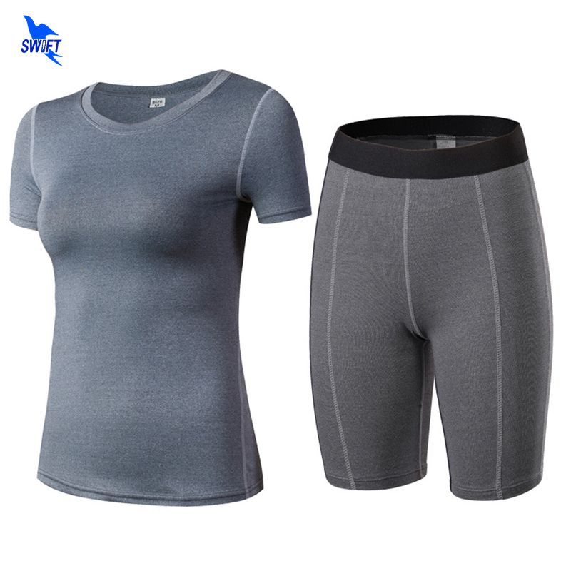 Two-Piece Women Quick Dry Compression Yoga Sets Jogging Set Tights Running Top Training Shorts Gym Tracksuit Sports Suit Female