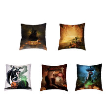 Thanksgiving Decoration [Pillow Cover Pumpkin Lamp Witch Linen Family Throw Pillowcase Living Room Sofa Chair Decor Accessories(China)