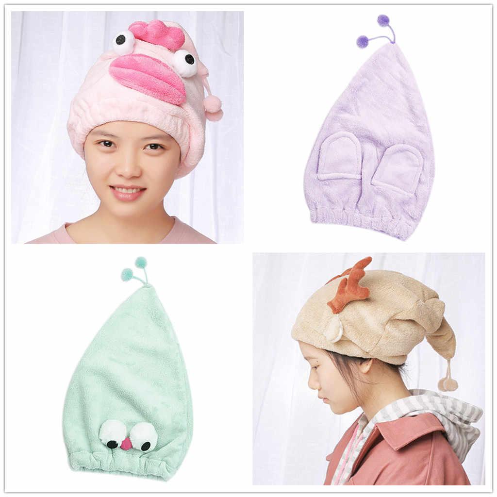 Phim hoạt hình Sợi Nhỏ Tóc Turban Một Cách Nhanh Chóng Khô Tóc Hat Bọc Khăn Tắm Cap