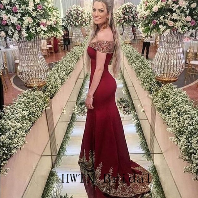 29f683afe33 Gold Lace Burgundy Mermaid Mother of the Bride Dresses 2019 Off Shoulder  Cheap Plus Size Long Wedding Party Dress Women Gowns