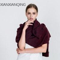 XIANXIANQING Winter Fashion Scarf Women Solid Hole Lady Shawls Cashmere Capes Blanket Scarfs Foulard Femme Sciarpa