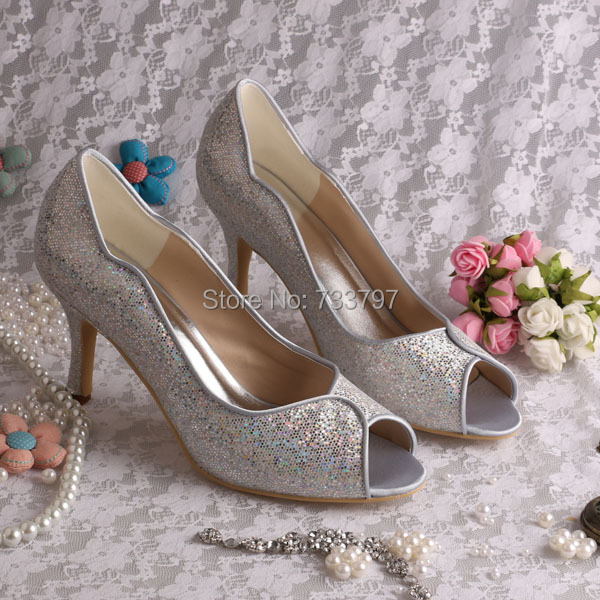 No Heel Wedding Shoes: Custom Handmade Silver Glitter Mid Heel Wedding Shoes