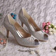 Пользовательские Блеск Серебра Ручной Работы Среднего пятки Свадебная Обувь Свадебная для Леди Таможенной Службы