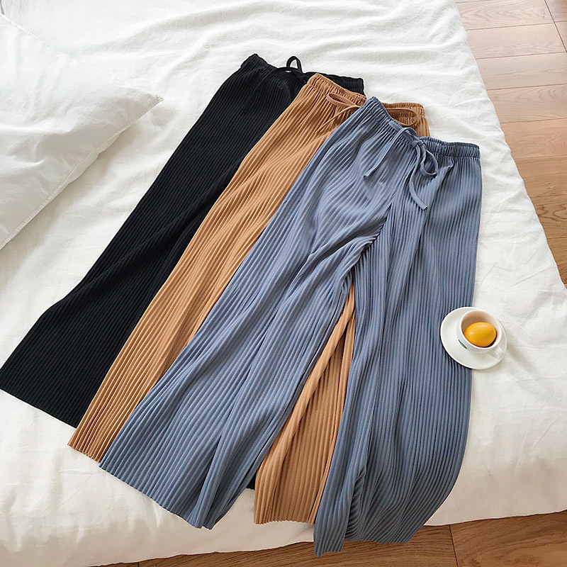 Summer Drape Tall Waist   Wide     Legs     Pants   Female Trousers Gentle Wind New Fund   Pants   Pure Color Elastic Waist Casual Pleated   Pants