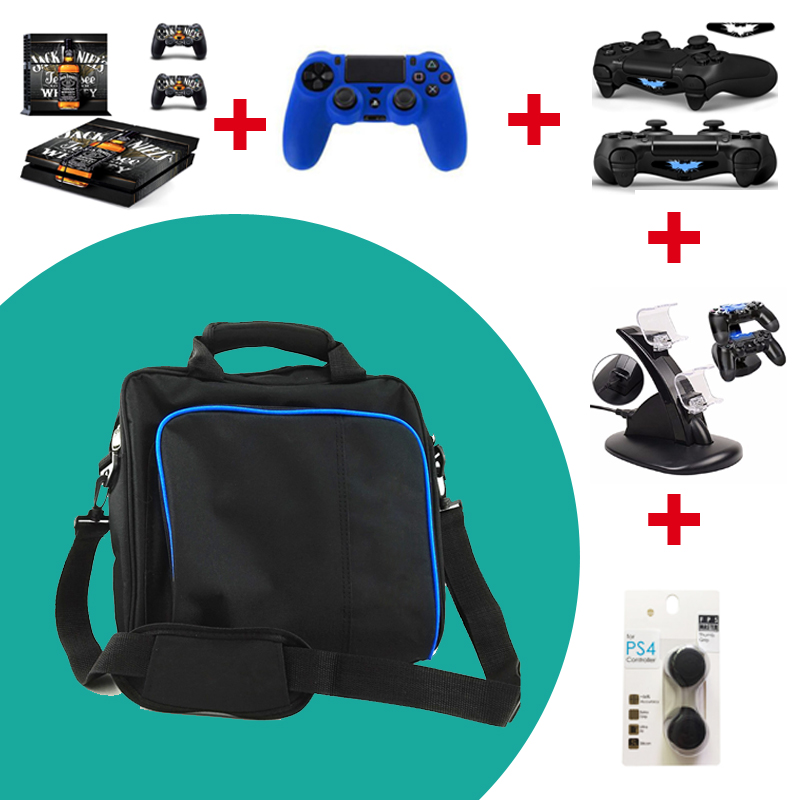 For PS4 Large Storage Travel Bag Carry Case Cover Carrying Protective Shoulder Bag For Sony Playstation 4 For PS4 Case Console game accessories travel storage carry case shoulder bag for ps4 pro one set of ps4 pro console skin sticker as free gift