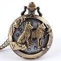 Бесплатная доставка бронзовые волк выдолбите кварцевые карманные часы ожерелья женщин-мужская подарки P256