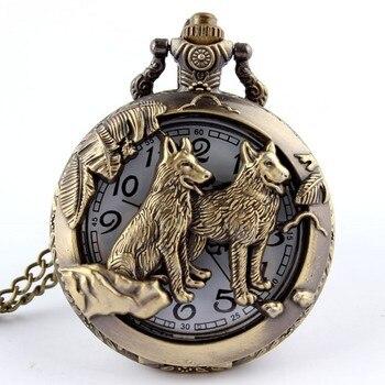 Retro Bronze Dog Wolf Holow Quartz Pocket Watch With Necklace Chain Women Mens Cool Pendant Clock Classic Quartz Pocket Watches