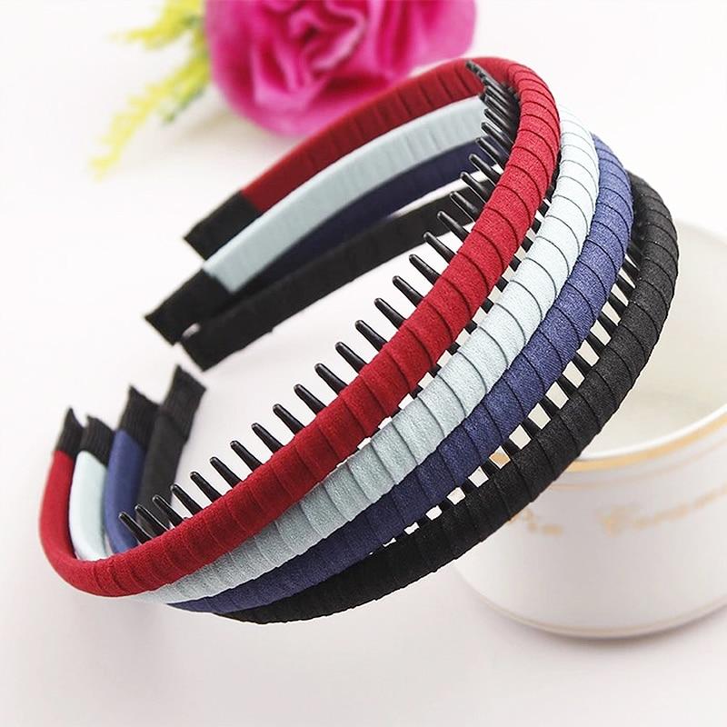 Hot High Quality Korean Solid Cloth Headband With Teeth Girls Kids Hair Band For Women Hair Accessories