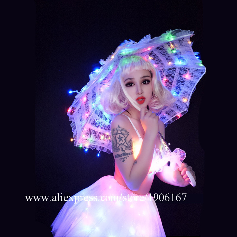 White Valentine\'s Day LED luminous wedding design gogo female songs ds hundred DJ suit costumes08
