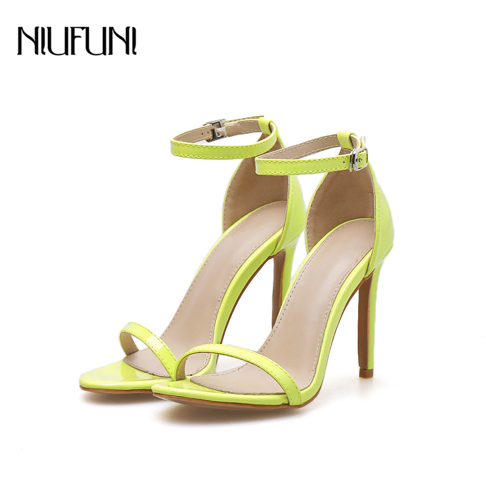 Summer New PU Sexy Belt Buckle Sandals Solid Color Fluorescent Yellow Female Word Buckle With Thin High Heel Party Women 39 s Shoes in High Heels from Shoes